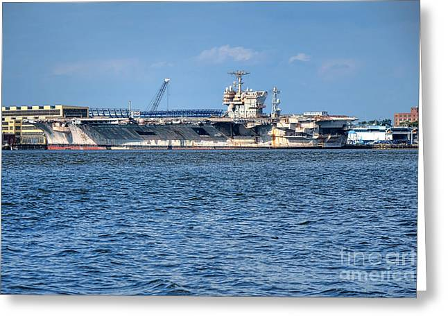 Aircraft Carrier Greeting Cards - USS John Kennedy Greeting Card by Olivier Le Queinec