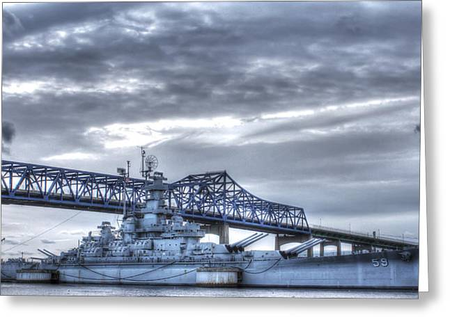 Apacheco Greeting Cards - USS Massachusetts Greeting Card by Andrew Pacheco