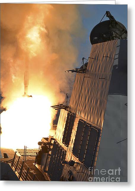 Sms Greeting Cards - Uss Michael Murphy Fires An Rim-66m Greeting Card by Stocktrek Images