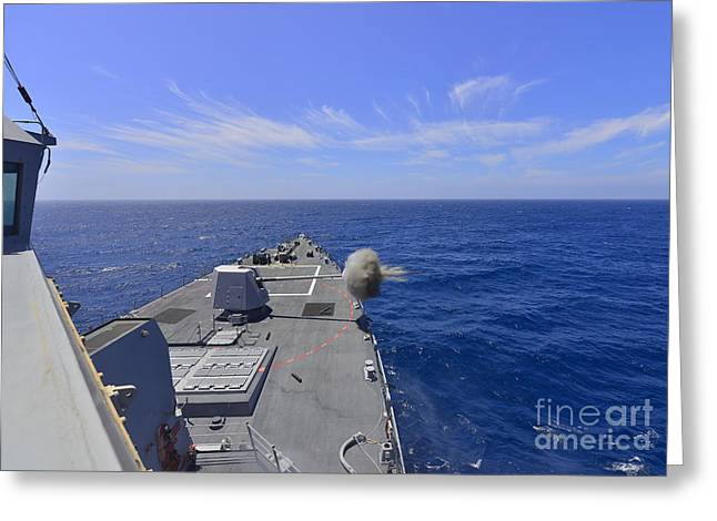 Clemente Greeting Cards - Uss Michael Murphy Fires Its Mk45 Greeting Card by Stocktrek Images