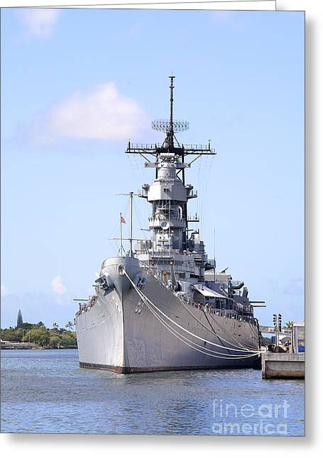 Historical Images Greeting Cards - USS Missouri at Pearl Harbor Greeting Card by Jan Tyler