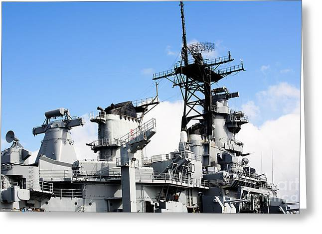 16 Inch Guns Greeting Cards - USS Missouri Superstructure Greeting Card by Jan Tyler
