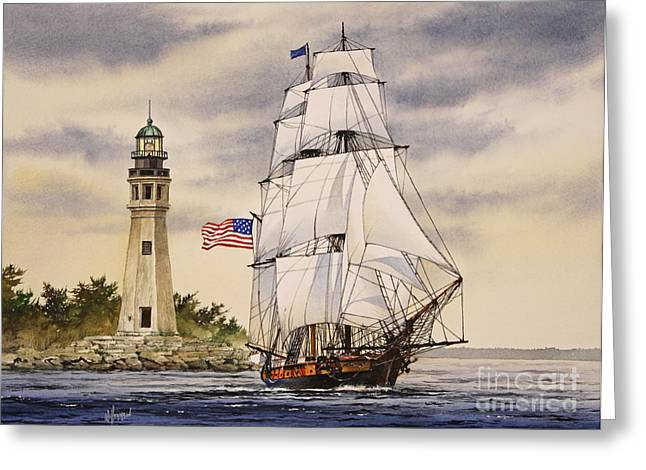 Wooden Ship Paintings Greeting Cards - Uss Niagara Greeting Card by James Williamson