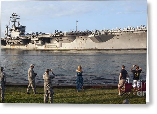 Hickam Greeting Cards - Uss Nimitz Arrives At Joint Base Pearl Greeting Card by Stocktrek Images