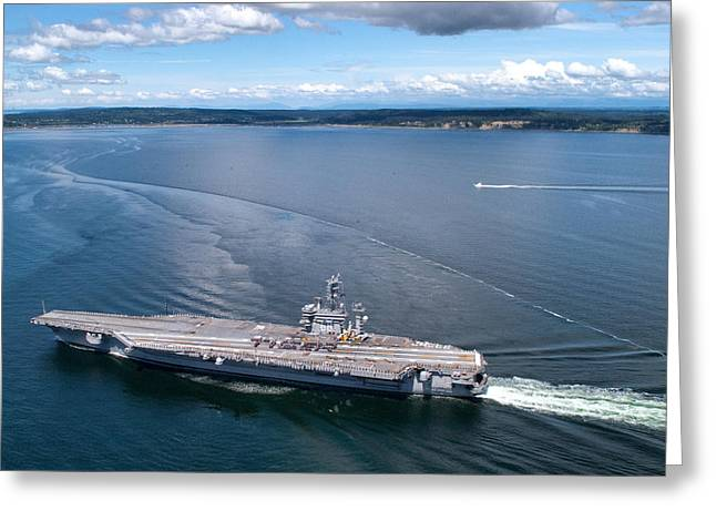 Naval Aircraft Greeting Cards - USS Nimitz Greeting Card by Mountain Dreams