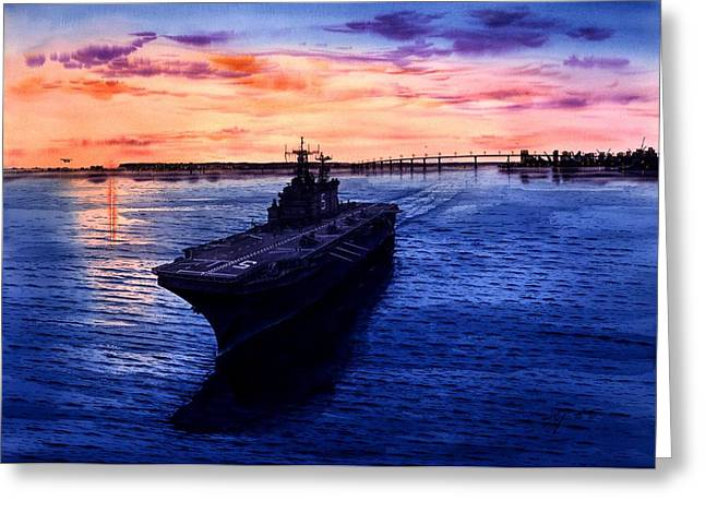 Images Of San Diego Greeting Cards - Uss Pelilu Greeting Card by John YATO