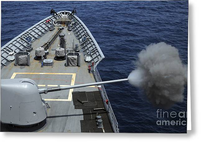 Uss Philippine Sea Fires Its Mk 45 Greeting Card by Stocktrek Images