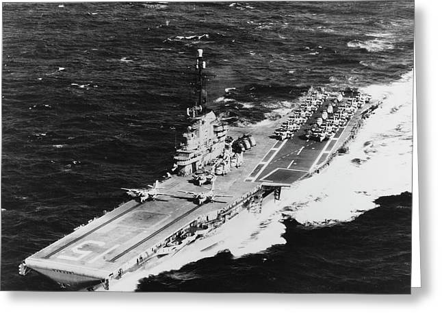Uss Randolph Underway At Sea With Two Greeting Card by Stocktrek Images