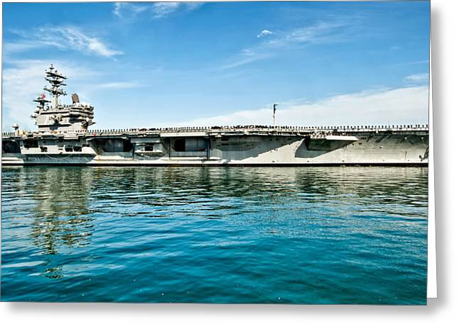 Naval Aircraft Greeting Cards - USS Ronald Reagan Greeting Card by Mountain Dreams