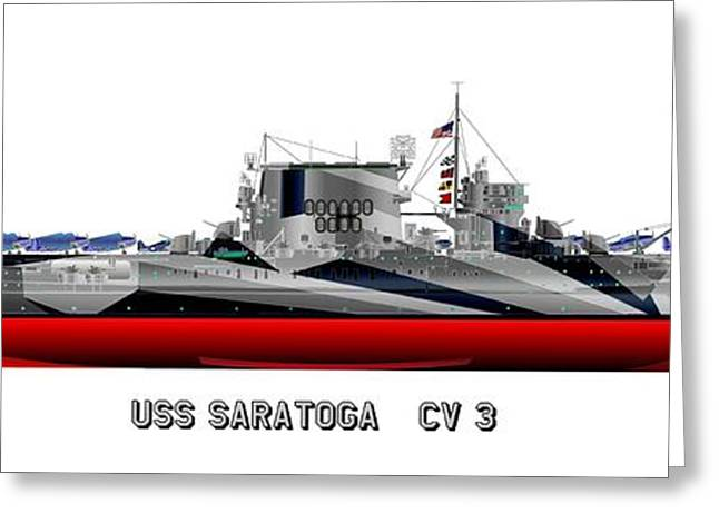 Warship Drawings Greeting Cards - USS Saratoga CV-3 1944 Greeting Card by George Bieda