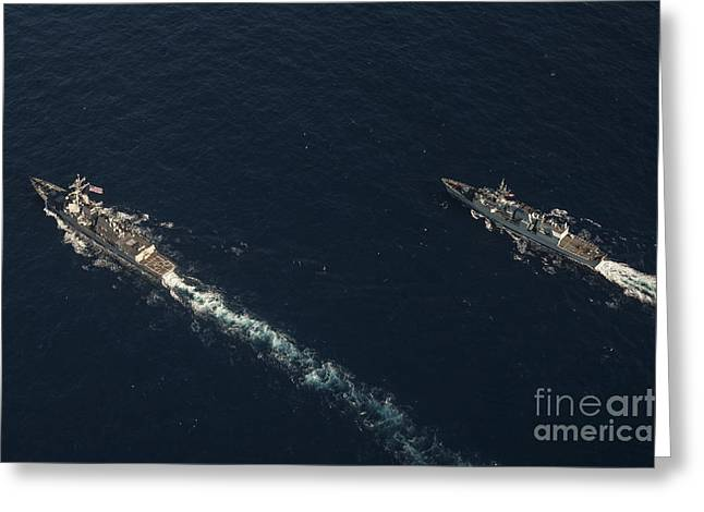 Halifax Photography Greeting Cards - Uss Stockdale And The Canadian Frigate Greeting Card by Stocktrek Images