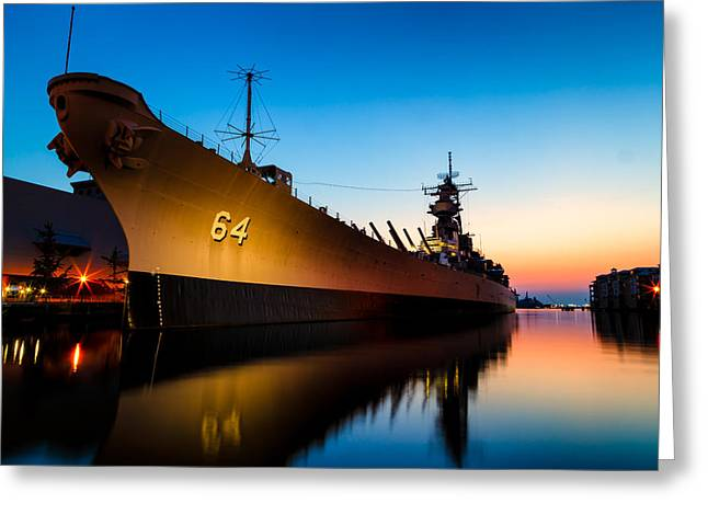 Recently Sold -  - Ocean Photography Greeting Cards - USS Wisconsin at Sunset Greeting Card by Steve Stephenson