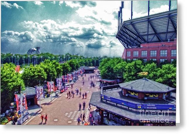 Arthur Ashe Greeting Cards - USTA Grounds Flushing Meadows Greeting Card by Nishanth Gopinathan