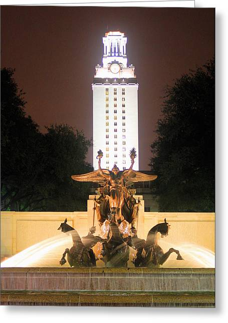 Night Angel Greeting Cards - UT tower and fountain Greeting Card by Valerie Loop