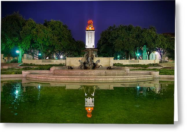 Hdr (high Dynamic Range) Greeting Cards - UT Tower Regular Season Win Reflection Greeting Card by Preston Broadfoot