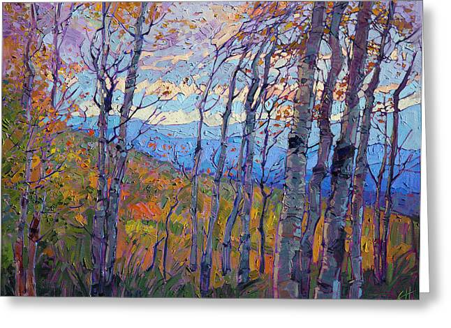 Recently Sold -  - Southern Utah Greeting Cards - Utah Aspens Greeting Card by Erin Hanson