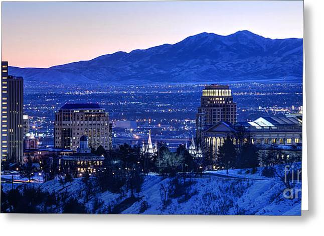 Salt Lake City Temple Greeting Cards - Utah Capitol and Oquirrh Mountains Winter Sunset Greeting Card by Gary Whitton