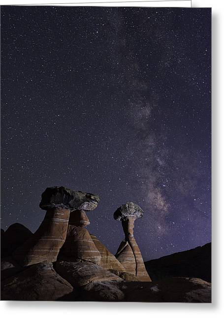 Toadstools Greeting Cards - Utah Desert Night Greeting Card by Christian Heeb