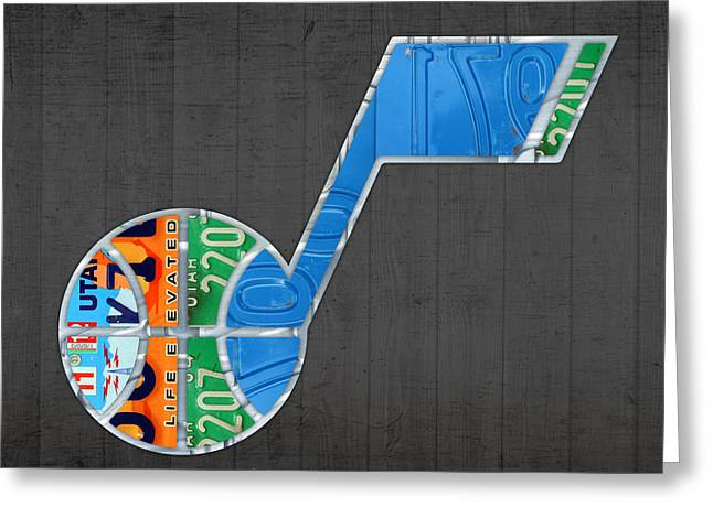 Utah Jazz Greeting Cards - Utah Jazz Basketball Team Retro Logo Vintage Recycled License Plate Art Greeting Card by Design Turnpike