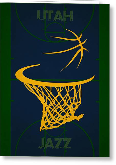 Utah Jazz Court Greeting Card by Joe Hamilton