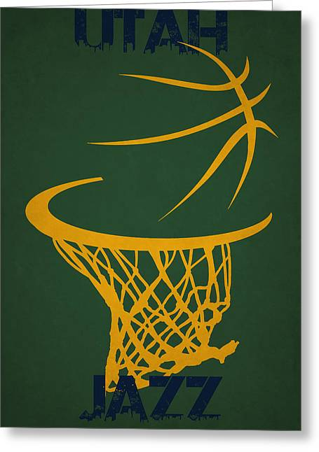 Utah Jazz Hoop Greeting Card by Joe Hamilton