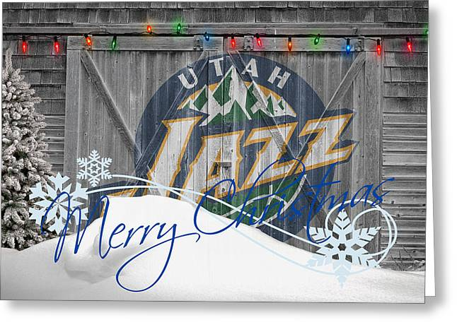 Dunk Photographs Greeting Cards - Utah Jazz Greeting Card by Joe Hamilton