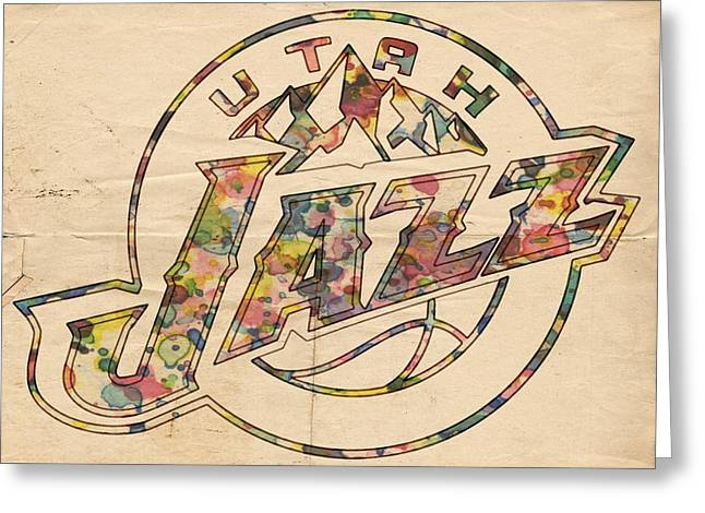 Utah Jazz Poster Art Greeting Card by Florian Rodarte