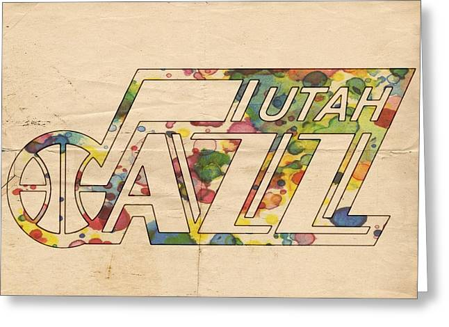 Slamdunk Greeting Cards - Utah Jazz Retro Poster Greeting Card by Florian Rodarte