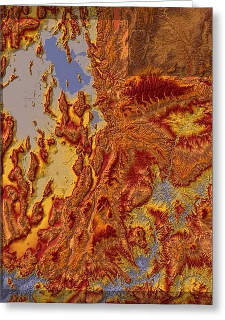 Landform Digital Greeting Cards - Utah Map Art Greeting Card by Paul Hein