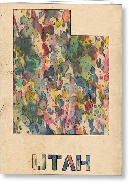 Vintage Map Digital Art Greeting Cards - Utah Map Vintage Watercolor Greeting Card by Florian Rodarte