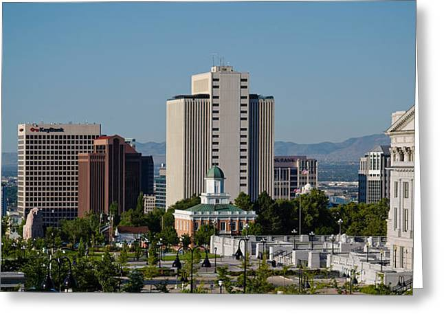 Downtown District Greeting Cards - Utah State Capitol Building, Salt Lake Greeting Card by Panoramic Images