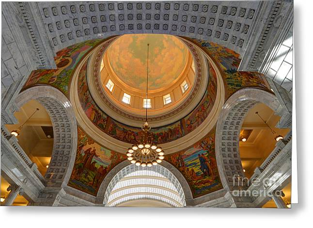 Greek Columns Greeting Cards - Utah State Capitol Rotunda Interior Archways Greeting Card by Gary Whitton