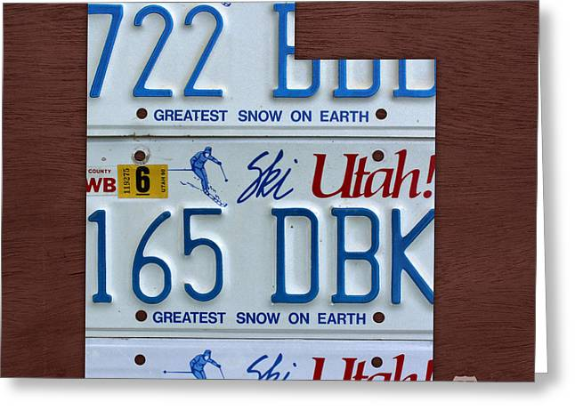 Utah State License Plate Map Greeting Card by Design Turnpike