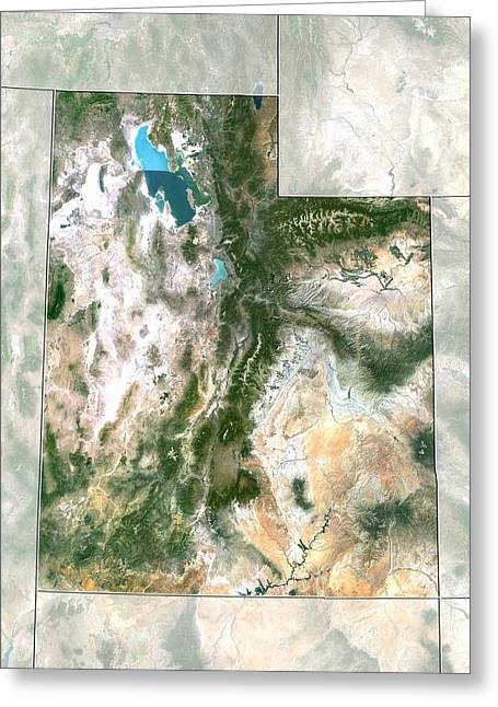 Relief Map Greeting Cards - Utah, USA, satellite image Greeting Card by Science Photo Library