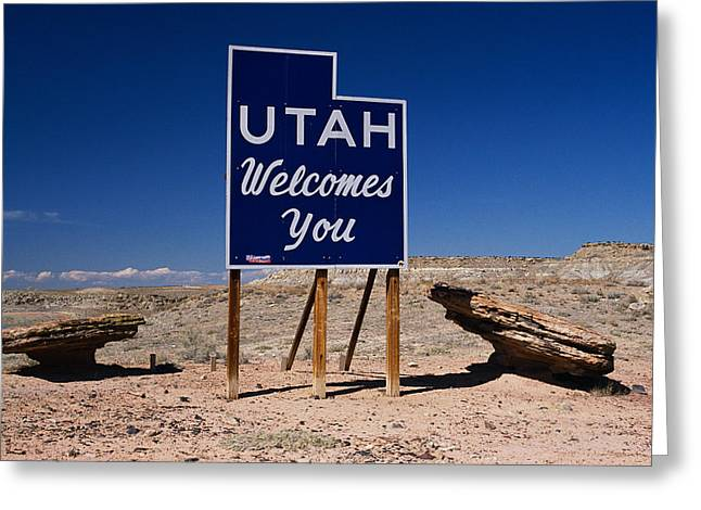 Welcome Signs Greeting Cards - Utah Welcomes You State Sign Greeting Card by Panoramic Images