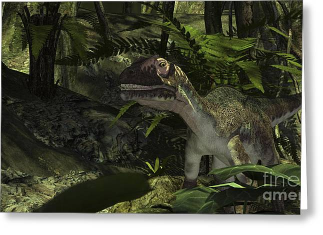 Dromaeosaurid Greeting Cards - Utahraptor In A Prehistoric Forest Greeting Card by Kostyantyn Ivanyshen