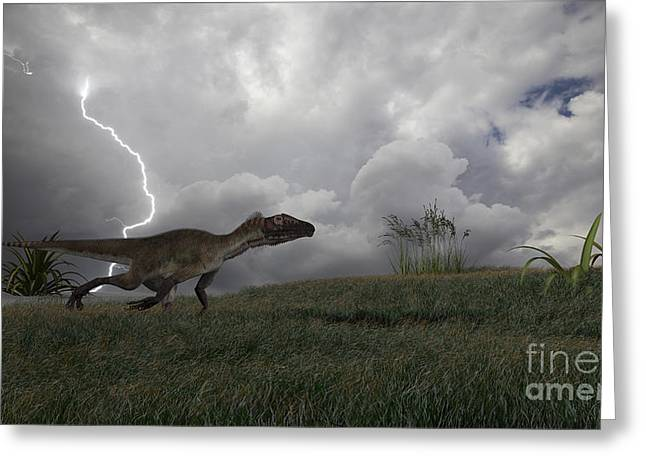 Images Lightning Digital Art Greeting Cards - Utahraptor Running Across An Open Field Greeting Card by Kostyantyn Ivanyshen