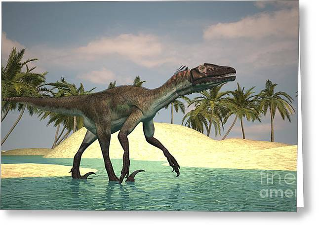 Existence Greeting Cards - Utahraptor Walking Across A Riverbed Greeting Card by Kostyantyn Ivanyshen