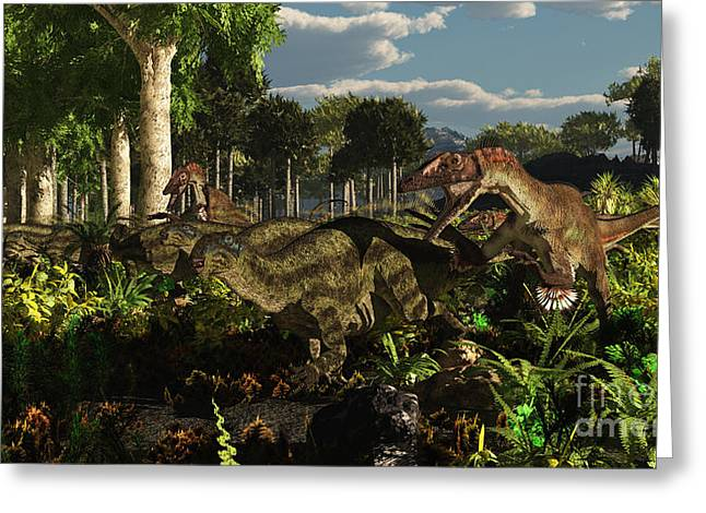 Dromaeosaurid Greeting Cards - Utahraptors Hunting The Early Greeting Card by Arthur Dorety