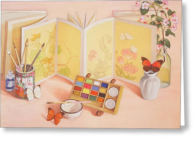 Screen Greeting Cards - Utamaros Garden Wc On Paper Greeting Card by Tomar Levine