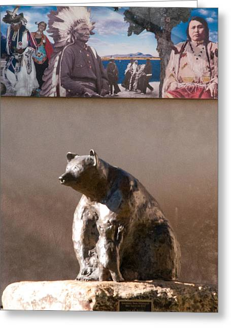 Geobob Greeting Cards - Ute Indian Museum Bear Sculpture Montrose Colorado Greeting Card by Robert Ford