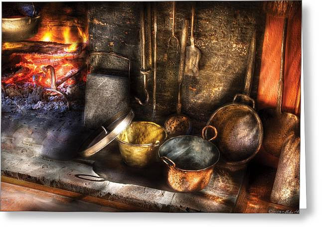 Embers Greeting Cards - Utensils - Colonial Kitchen Greeting Card by Mike Savad
