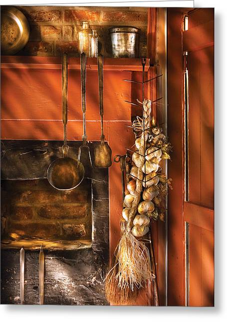 Affordable Kitchen Art Greeting Cards - Utensils - Garlic and Spoons Greeting Card by Mike Savad