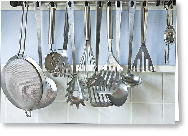 Rack Greeting Cards - Utensils Greeting Card by Tom Gowanlock