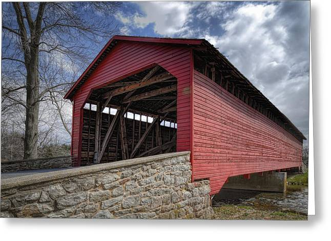 Fishing Creek Greeting Cards - Utica Mills Covered Bridge Greeting Card by Joan Carroll