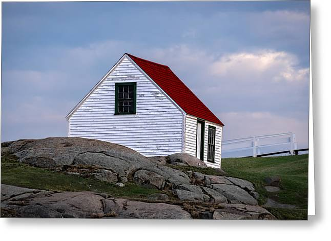 Cape Neddick Lighthouse Greeting Cards - Utility Shed Greeting Card by Edmund Prescottano
