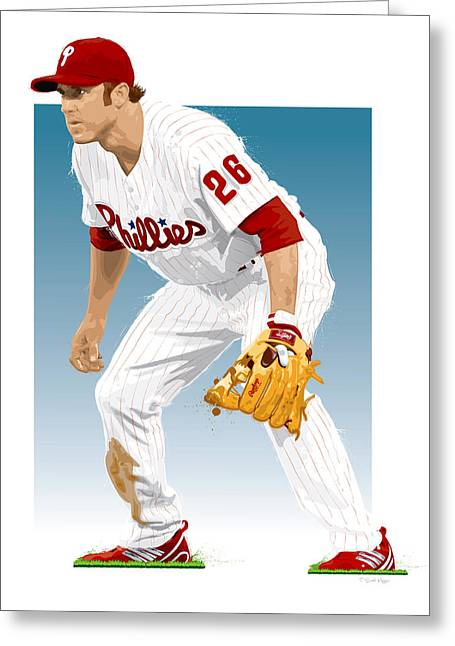 Sports Fields Greeting Cards - Utley In The Ready Greeting Card by Scott Weigner