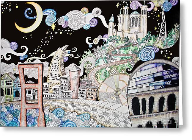 Golden Gate Drawings Greeting Cards - Utopia Greeting Card by Devan Gregori