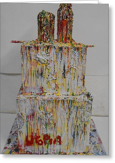 Drip Sculptures Greeting Cards - Utopia Greeting Card by Gh FiLben