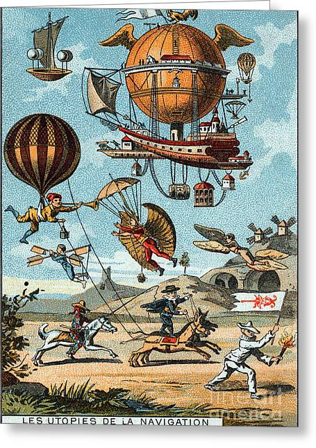 Utopian Flying Machines 19th Century Greeting Card by Science Source